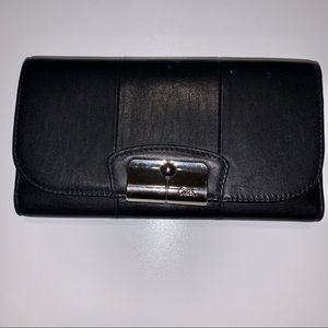 COACH Black Leather Long Checkbook Wallet